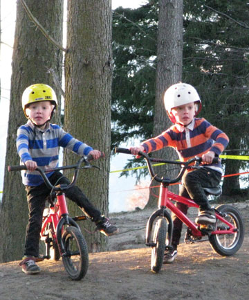 THE WHEEL DEAL: A YouTube video of 4-year-old Queenstown twins Jake, left, and Theo Riddle riding BMX bikes has gone viral.