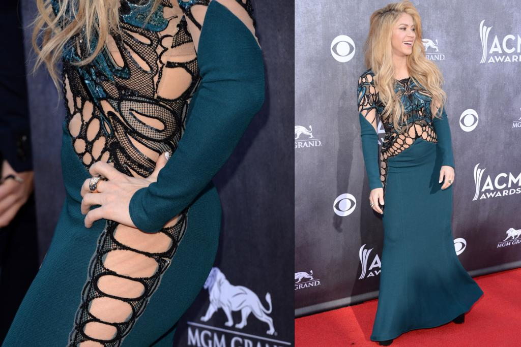 THE BAD: Behold Shakira in Zuhair Murad - girls hips don't lie, but her stylist does. The singer gives off a certain cool attitude that means she can pull off almost anything, but not this. A) It's like a scene from Hannibal in which some dude obsessed with Rorschach tests has done something pretty wicked to a victim's navel. B) I know illusion dresses will never go away, but can we sign some sort of treaty ensuring nude stocking material never has reason to touch a woman's stomach ever again?