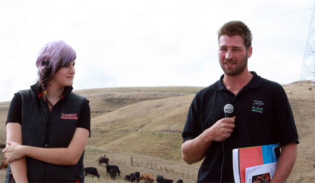 QUALIFICATIONS KEY: Liam and Louise Zander take questions from farmers on the farm they manage.