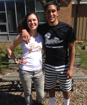 GO SQUIRRELS: Track-and-field competitor Margaret Miller and basketball player Mile Gueno wear shirts featuring Oberlin College's new mascot.