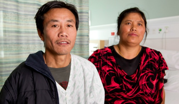 LANGUAGE BARRIER: Khua Kam Thang Nawl and wife Far Can Uk in Wellington Hospital.