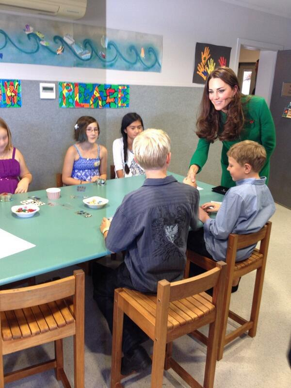 The Duchess meeting kids in the Art Therapy Room of Rainbow Place.