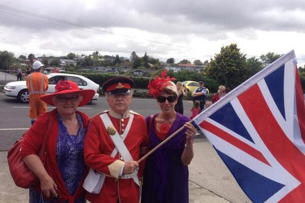 Loyal royalists Pauline Lisignoli, John Nahels and Judy Hoult wait for a chance to see Kate at Rainbow Place