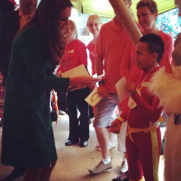 The Duchess meets The Flash at Rainbow Place. Flash's sister, Bailey Taylor, also met the duchess today.