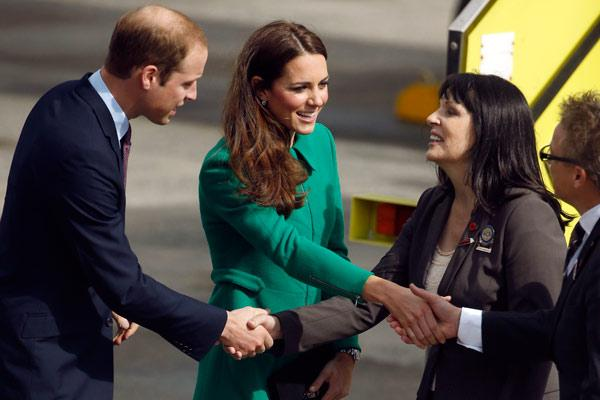 The mayor of Hamilton, Julie Hardaker, greets the Duke and Duchess upon the royal couple's arrival in Hamilton.