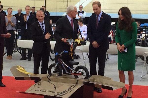 The royal couple are presented with a new bike for Prince George at the Avantidrome.