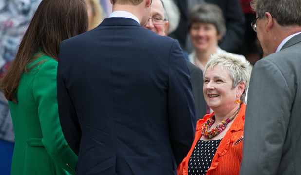 PLEASED TO MEET YOU: Cynthia Read meeting Wills and Kate in Cambridge on Saturday.