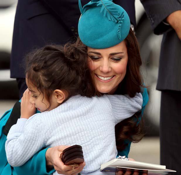 Mataawhio Matahaere-Veint hugs Duchess of Cambridge