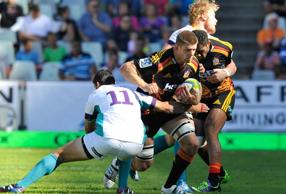 Michael Fitzgerald makes a charge for the Chiefs against the Cheetahs in Bloemfontein.