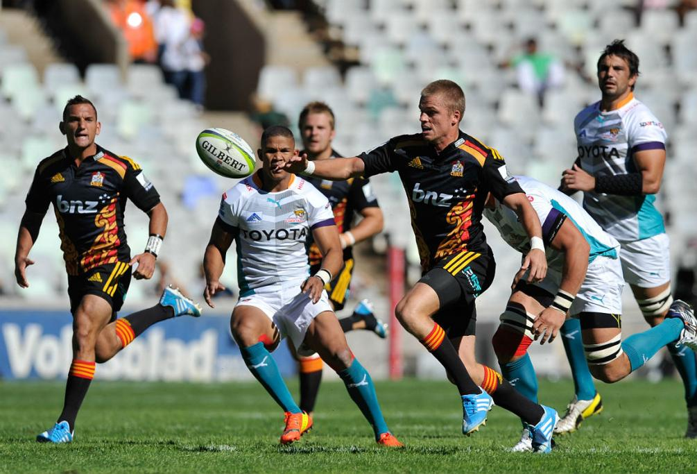 Gareth Anscombe chases down a loose ball against the Cheetahs in South Africa.