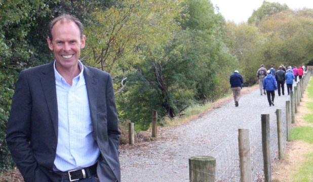 Winton walking track co-ordinator Lachie MCGregor at the opening of the new track on Saturday.