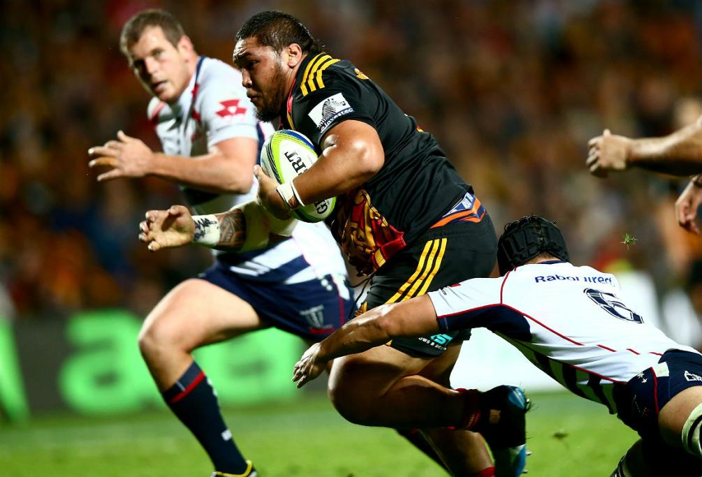 Chiefs prop Ben Tameifuna makes a charge against the Rebels at Waikato Stadium.