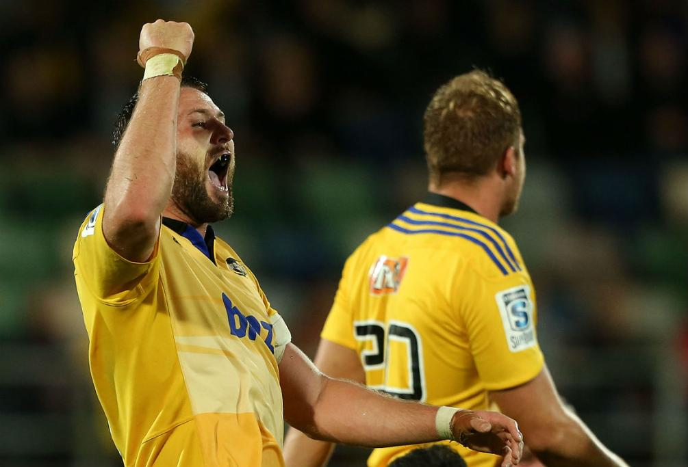 Jeremy Thrush shows his delight at the final whistle as the Hurricanes beat the Bulls.