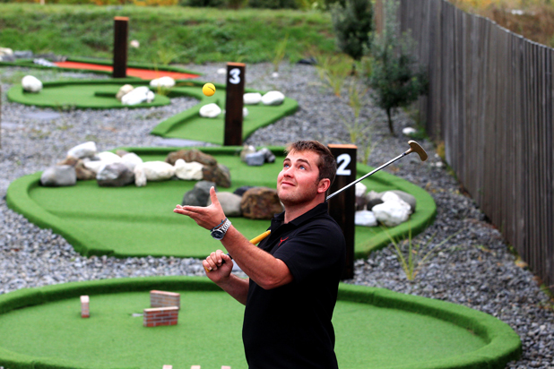 Teeing off: Riverlands Roadhouse owner Chris Wagner is excited to be able to offer activities for families at the truck stop