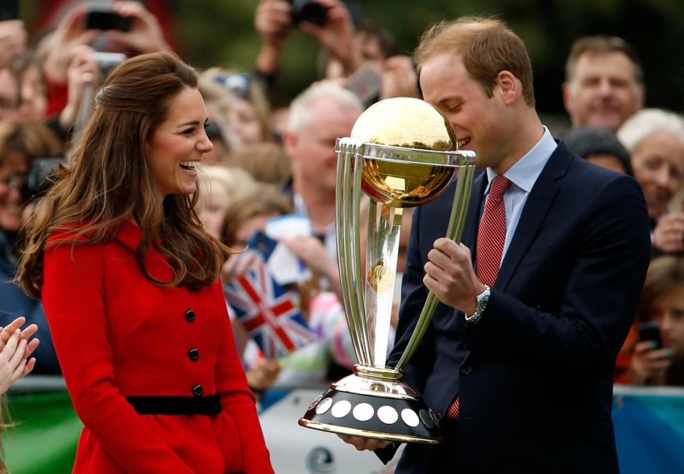 Prince William took his chance to hold the ICC Cricket World Cup - an event New Zealand will co-host with Australia in 2015.