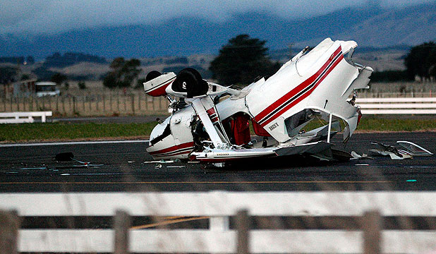 CLOSE ONE: A Cessna light aircraft crashed at the Taonui airfield near Feilding after the plane struck the cab of a digger on the back of a truck while attempting to land on Wednesday.