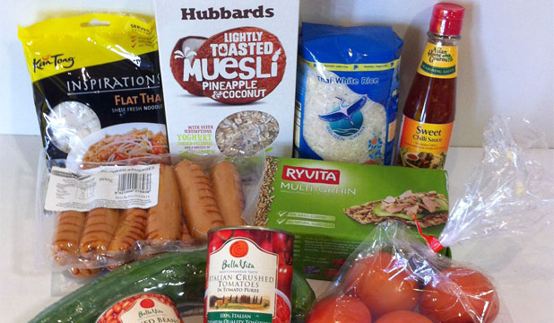 REDUCED TO CLEAR: This basket of basic grocery items cost just over $20.