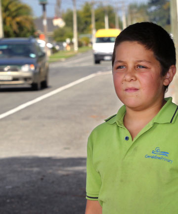 ON A MISSION: Sean Roberts, 9, wants to know why tourists are still able to drive in NZ, despite a concerning number of crashes caused by people holding international licences.