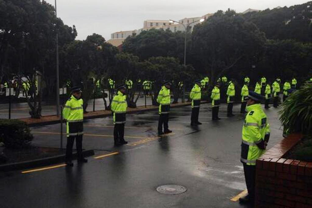 Police recruits formed a guard of honour for the arrival of the royal couple.