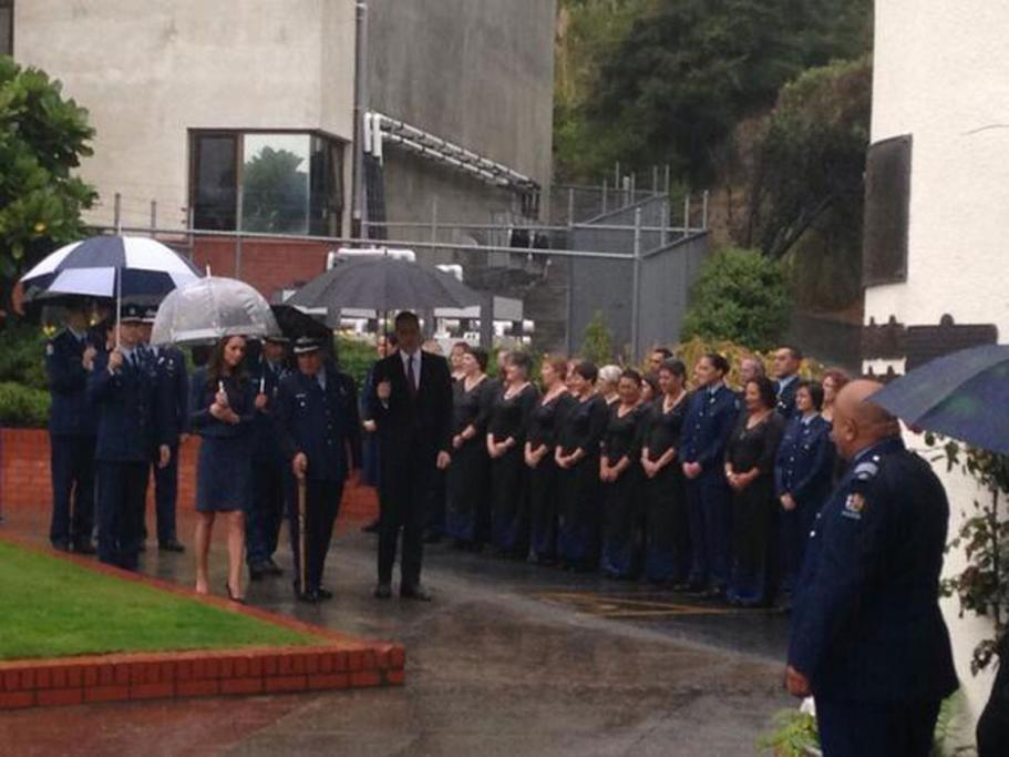Police staff welcomed Wills and Kate to the Royal New Zealand Police College.