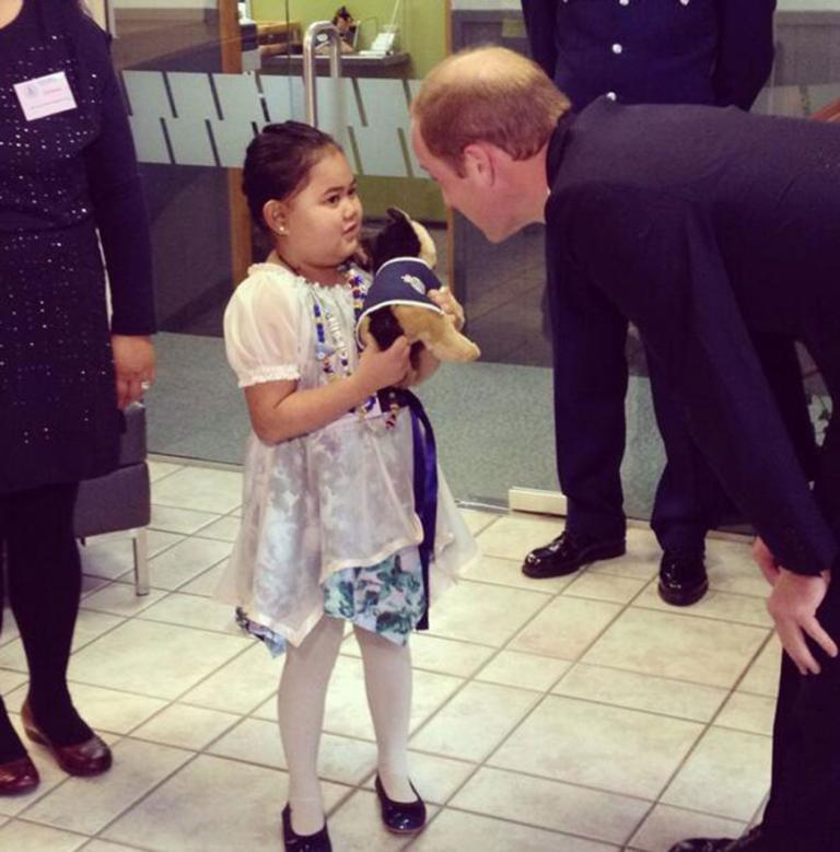 Iris Pouao, 7, who has undertaken chemotherapy to fight a brain tumour, got her chance to meet Prince William at the police college.