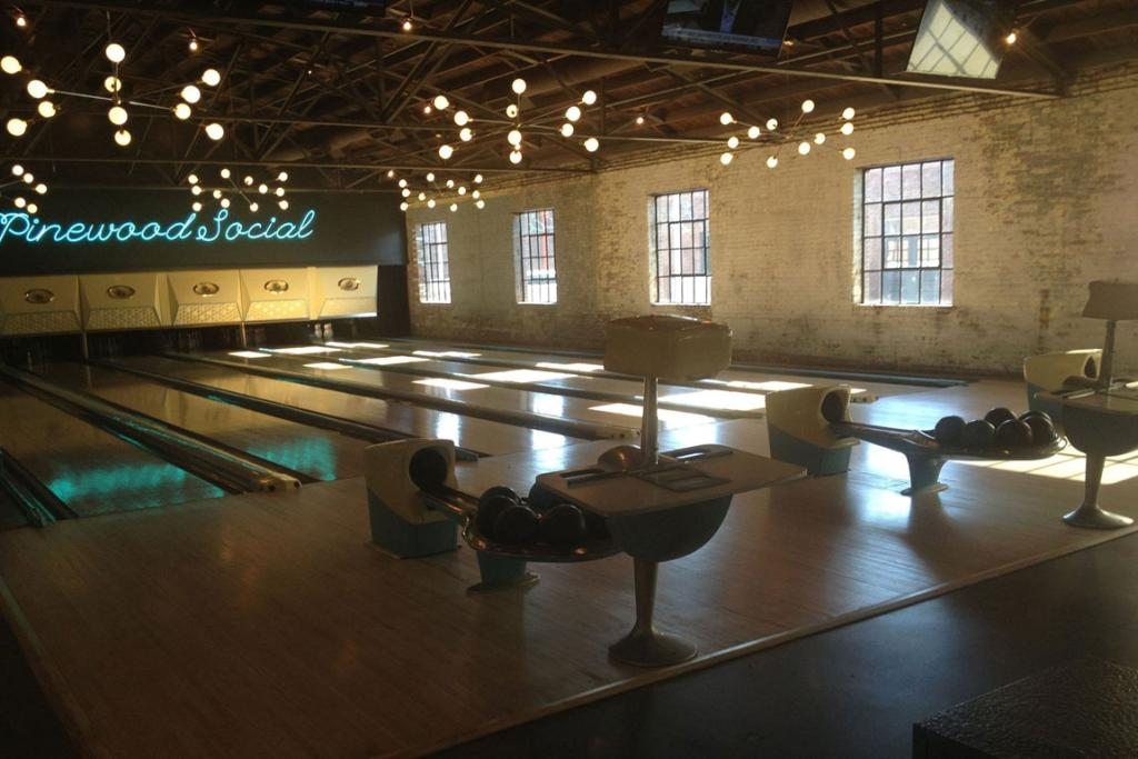Pinewood Social in Nashville is a restaurant, a bar, a coffee shop and a bowling alley.