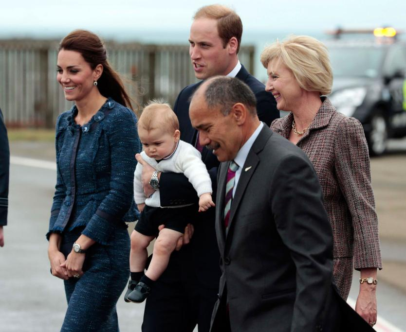 New Zealand Governor General Sir Jerry Mateparae and wife Lady Janine escorted the Duke and Duchess of Cambridge, with baby George, to their plane.