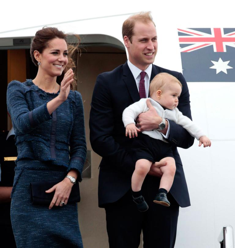 The royals' wet and windy day in Wellington came to a close as Kate, Wills and George boarded their flight to Sydney.