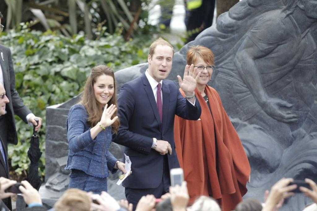Wills and Kate waved to the crowd as Wellington mayor Celia Wade-Brown welcomed them to the city.