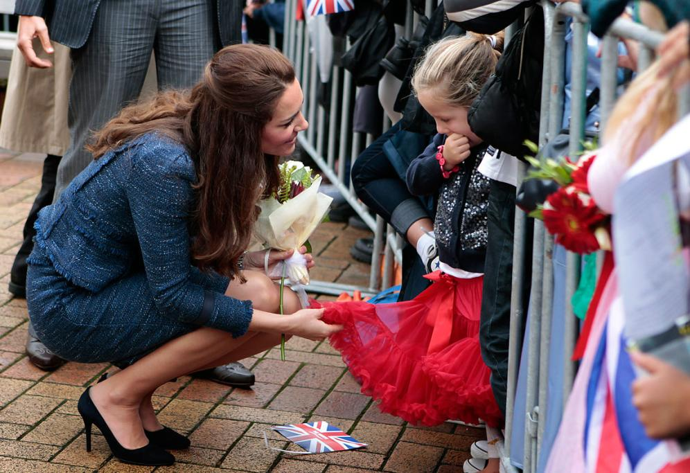 Kate was impressed with this girl's dress.