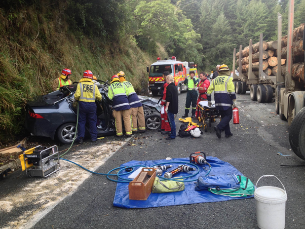 Emergency services at the scene of an accident near Rai Valley