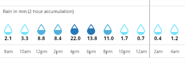 MetService - expected rainfall in millimetres