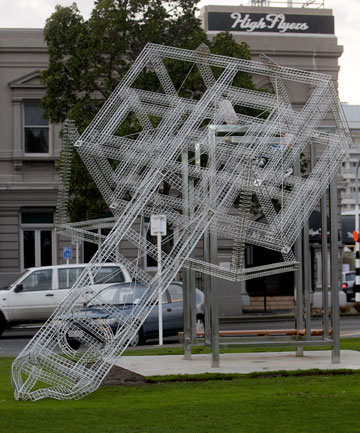 GHOSTLY CRASH: Palmerston North's newest sculpture, Ghost Tower, proved no match for Thursday's strong winds.
