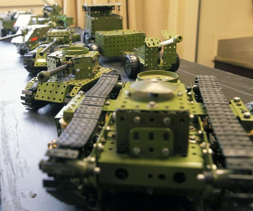 Army tanks lined up for inspection.