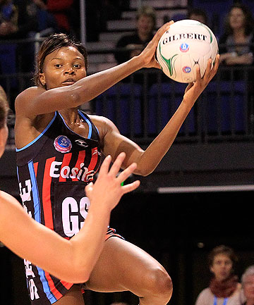 THREAT AT THE NET: Malawian shooter Mwai Kumwenda has been identified as the key threat as Southern Steel look to take down the Canterbury Tactix in Christchurch tonight.