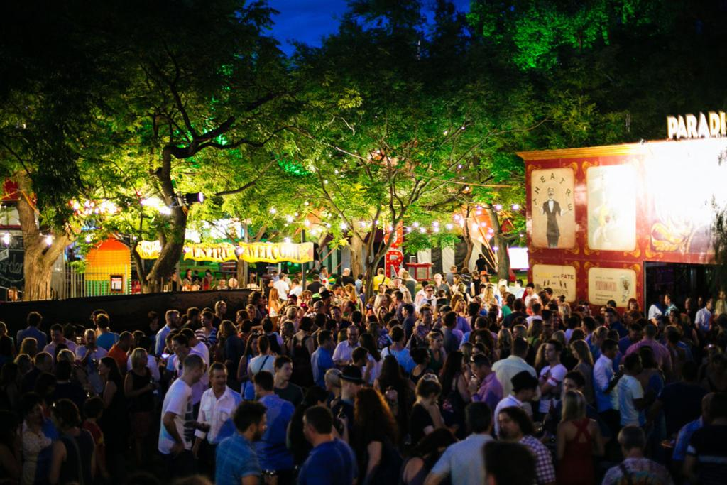 Crowds pack out the Garden of Unearthly Delights at Adelaide's Fringe Festival.