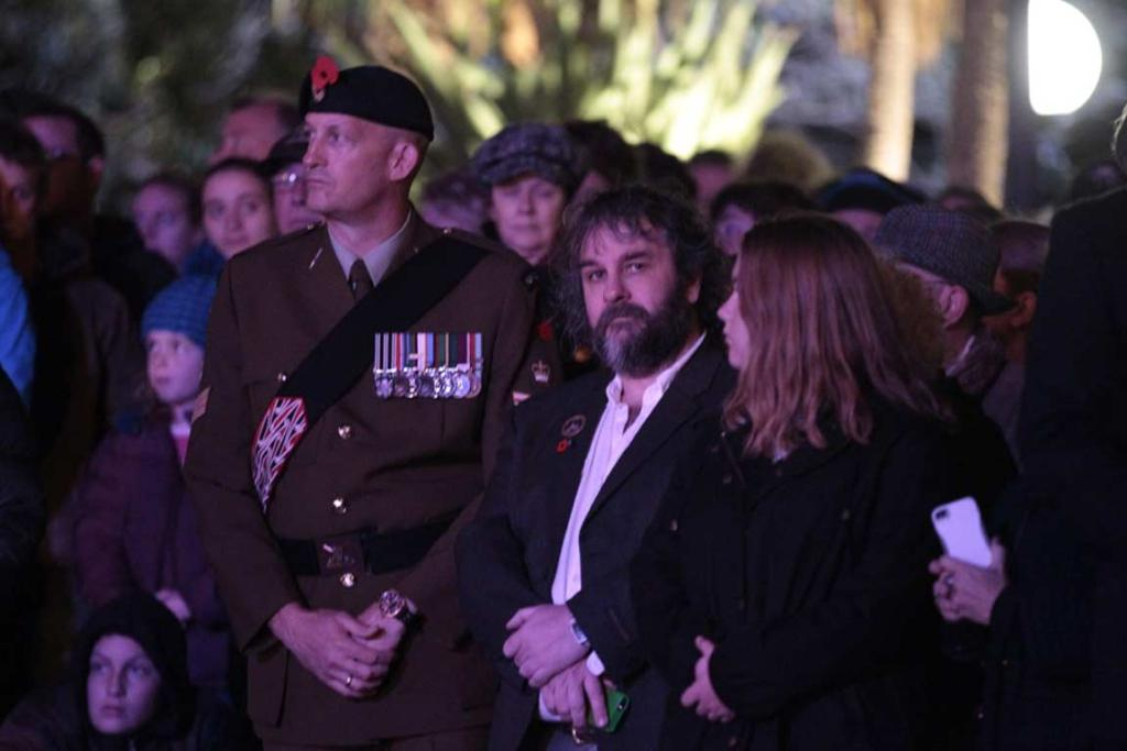 Oscar-winning film director Peter Jackson at the Anzac Day dawn ceremony at Parliament.