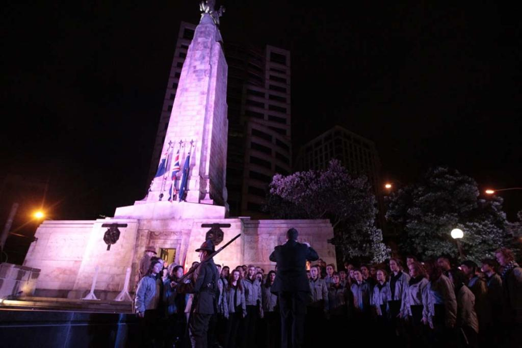 A choir group sings during the Anzac Day ceremony at Parliament.