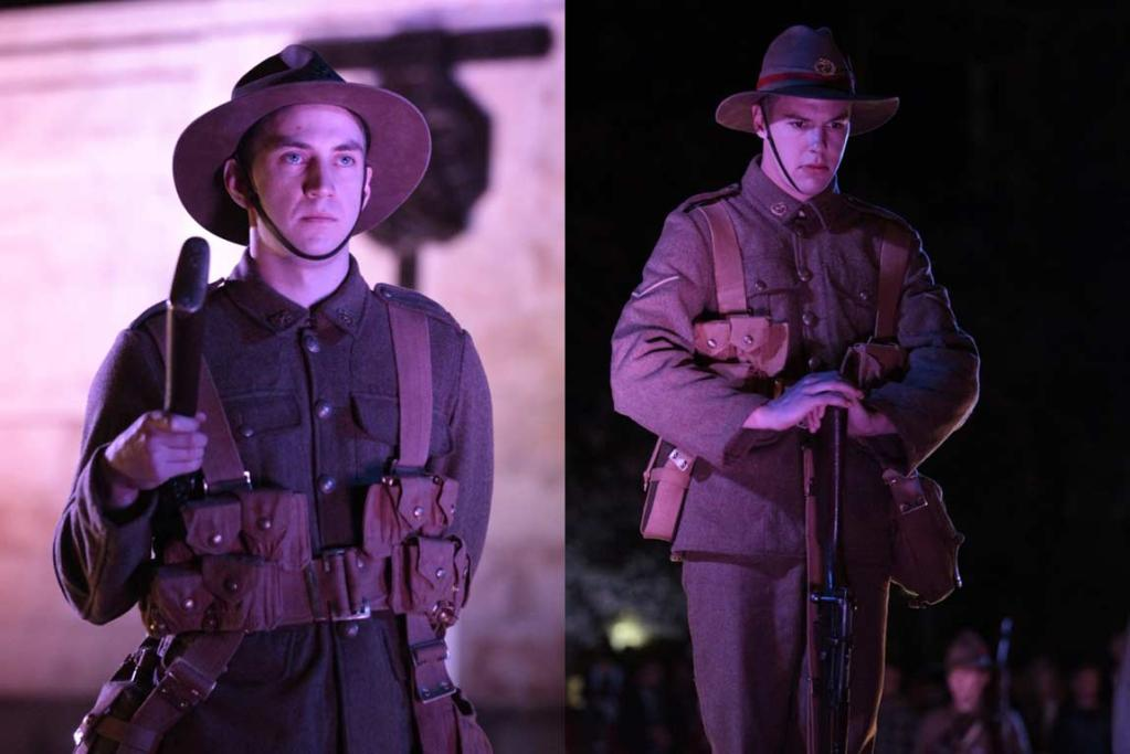 Soldiers stand in place ahead of the Anzac Day ceremony at Parliament.