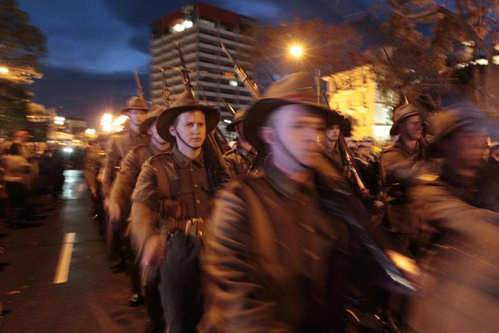 Soldiers march in Wellington at the dawn service.