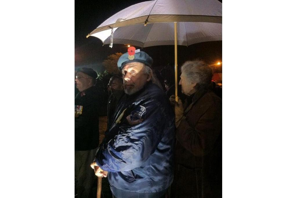 Gentle rain starts to fall In Invercargill as people gather for the 7am Anzac Day service.