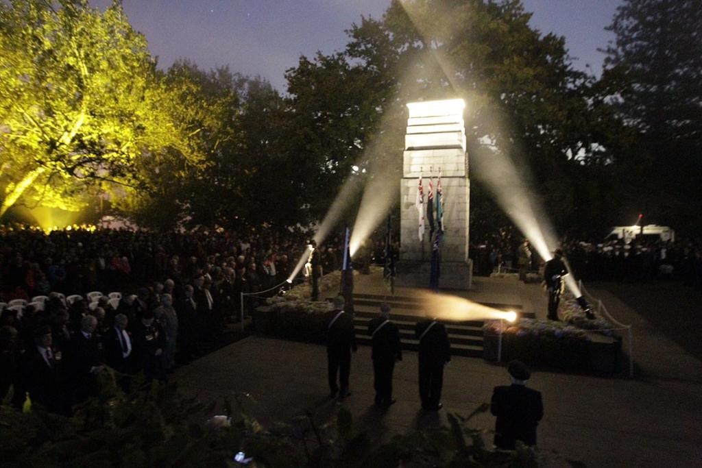 Crowds gather at Hamilton's dawn service to remember the war dead.