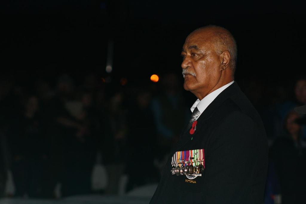 A soldier reflects on the past at Rotorua's dawn service.