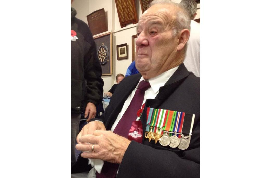 Charlie Sargeant is brought to tears today as he wears his brother's medals.