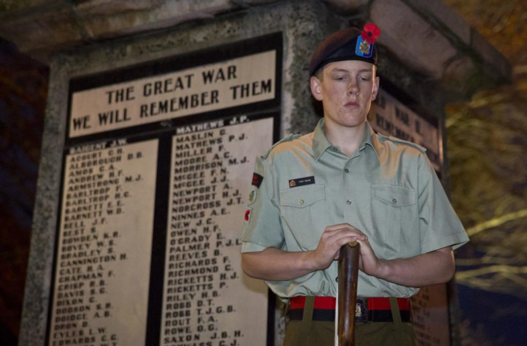 Cadet Tom Paine during the dawn service at Anzac Park this morning.