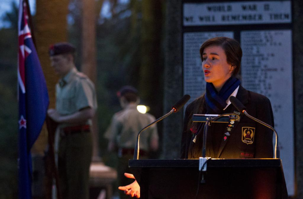 Garin College student Emily O'Connell delivers a speech during the dawn service at Anzac Park this morning.