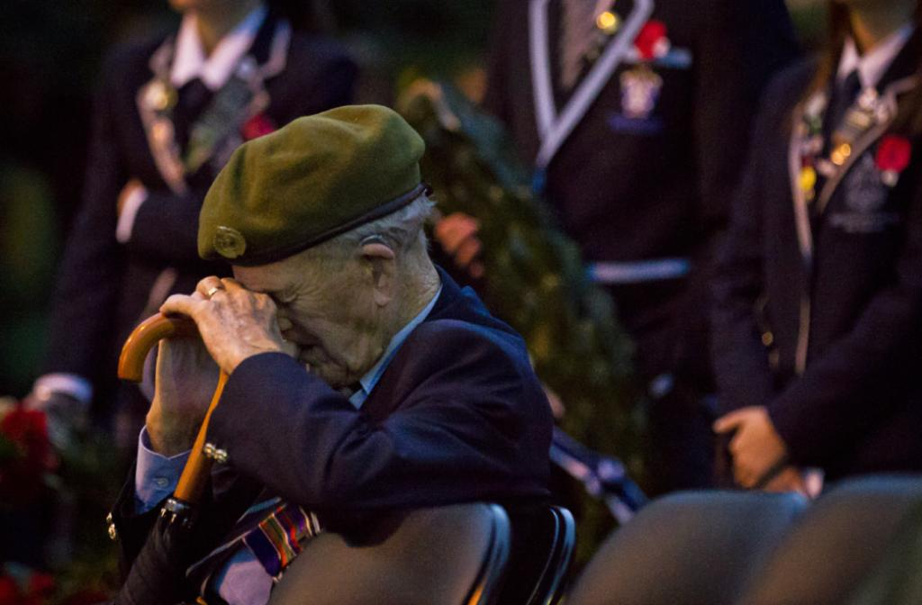 Robert Straight during the dawn service at Anzac Park this morning.