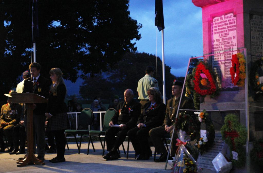 Dawn parade at Motueka cenotaph. Motueka High School had student left, and Kora Appleton, the student rep on the board of trustees, speaking at the service.