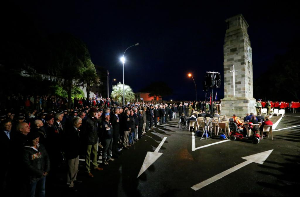 ANZAC Day dawn service parade, at New Plymouth cenotaph.