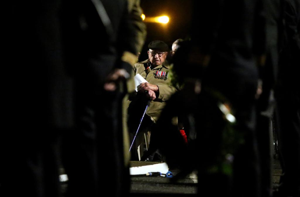 ANZAC Day dawn service parade, at New Plymouth cenotaph. Ben McKenzie, who was in the 27th battalion.